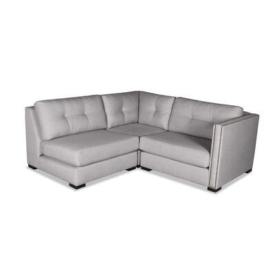 Timpson Buttoned L-Shape Mini Modular Sectional Upholstery: Gray, Orientation: Right Hand Facing