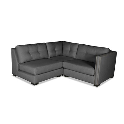 Timpson Buttoned L-Shape Mini Modular Sectional Upholstery: Charcoal, Orientation: Right Hand Facing