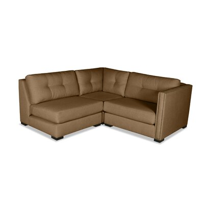 Timpson Buttoned L-Shape Mini Modular Sectional Upholstery: Brown, Orientation: Right Hand Facing