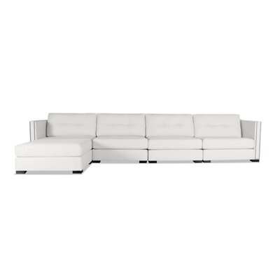 Timpson Buttoned Modular Sectional Upholstery: White, Orientation: Left Hand Facing