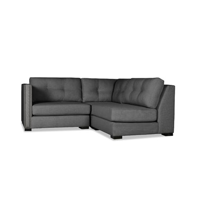Timpson Buttoned L-Shape Mini Modular Sectional Upholstery: Charcoal, Orientation: Left Hand Facing