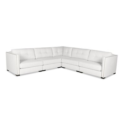 Timpson Buttoned L-Shape Modular Sectional Upholstery: White