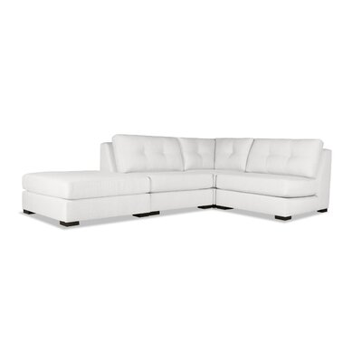Glaude Buttoned L-Shape Modular Sectional with Ottoman Upholstery: White