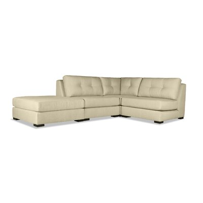 Glaude Buttoned L-Shape Modular Sectional with Ottoman Upholstery: Sand