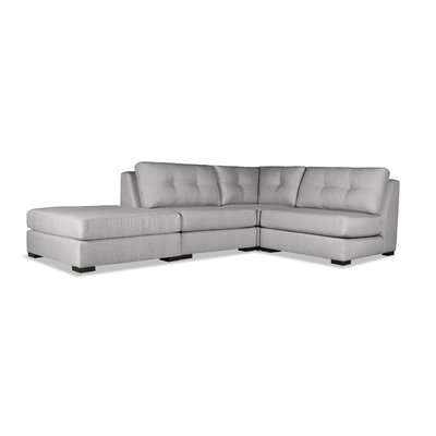 Glaude Buttoned L-Shape Modular Sectional with Ottoman Upholstery: Gray