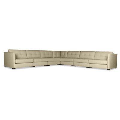 Timpson Buttoned L-Shape Modular Sectional Upholstery: Sand