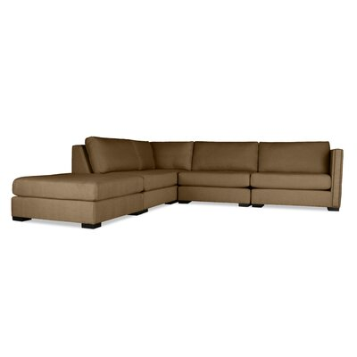 Timpson Modular Sectional with Ottoman Upholstery: Brown, Orientation: Left Hand Facing