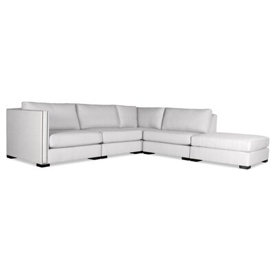 Timpson Modular Sectional with Ottoman Upholstery: White, Orientation: Right Hand Facing