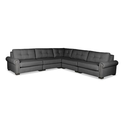 Lebanon Buttoned Sectional Upholstery: Charcoal