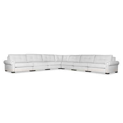 Lebanon Buttoned Right and Left Arms L-Shape Modular Sectional Upholstery: White