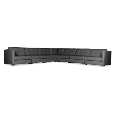 Timpson Buttoned L-Shape Modular Sectional Upholstery: Charcoal