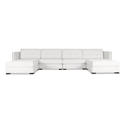 Timpson Buttoned U-Shape Double Chase Modular Sectional Upholstery: White