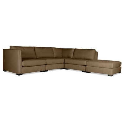 Timpson Modular Sectional with Ottoman Upholstery: Brown, Orientation: Right Hand Facing