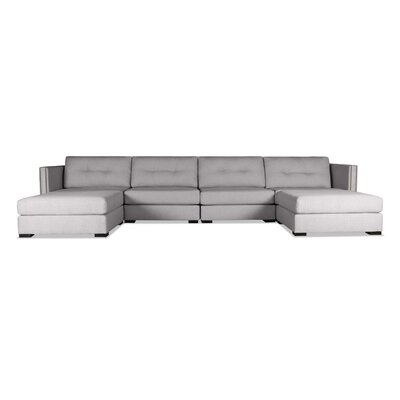 Timpson Buttoned U-Shape Double Chase Modular Sectional Upholstery: Gray