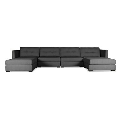 Timpson Buttoned U-Shape Double Chase Modular Sectional Upholstery: Charcoal