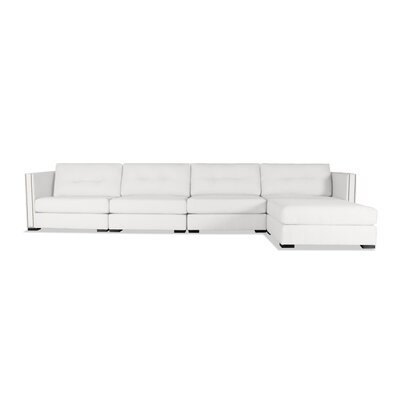 Timpson Buttoned Modular Sectional Upholstery: White, Orientation: Right Hand Facing