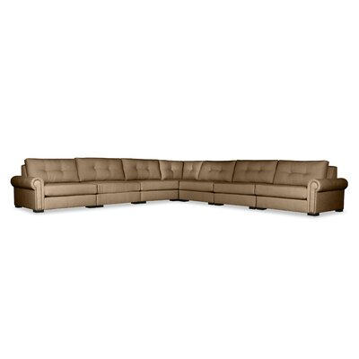 Lebanon Buttoned Right and Left Arms L-Shape Modular Sectional Upholstery: Brown