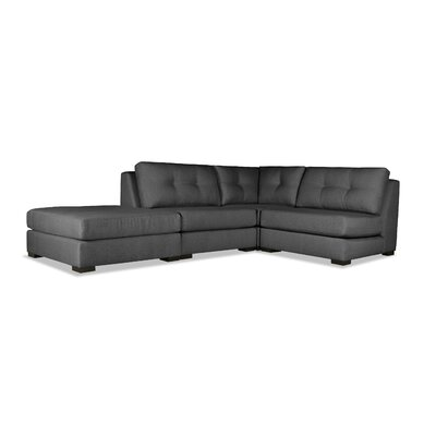 Glaude Buttoned L-Shape Modular Sectional with Ottoman Upholstery: Charcoal