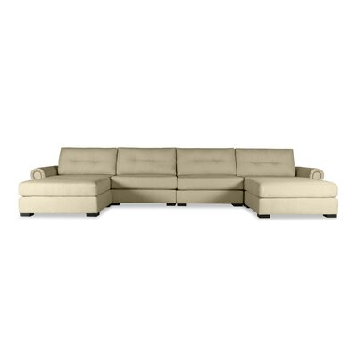 Lebanon Buttoned U-Shape Double Chaise Modular Sectional Upholstery: Sand