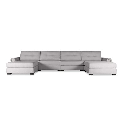 Lebanon Buttoned U-Shape Double Chaise Modular Sectional Upholstery: Gray
