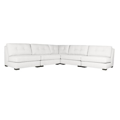 Glaude Buttoned L-Shape Simple Modular Sectional Upholstery: White