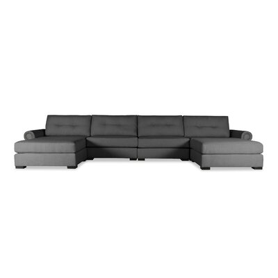 Lebanon Buttoned U-Shape Double Chaise Modular Sectional Upholstery: Charcoal