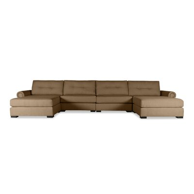 Lebanon Buttoned U-Shape Double Chaise Modular Sectional Upholstery: Brown