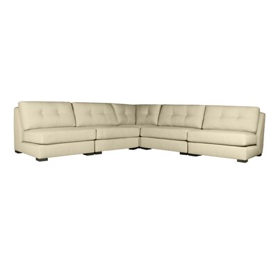 Glaude Buttoned L-Shape Simple Modular Sectional Upholstery: Sand