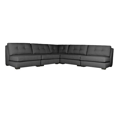 Glaude Buttoned L-Shape Simple Modular Sectional Upholstery: Charcoal