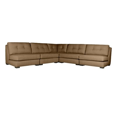 Glaude Buttoned L-Shape Simple Modular Sectional Upholstery: Brown
