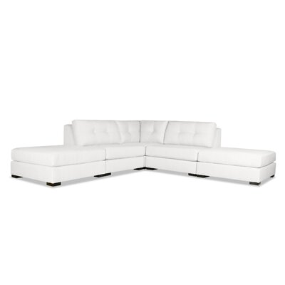Glaude Buttoned L-Shape Modular Sectional with Double Ottoman Upholstery: White