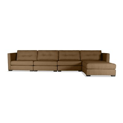 Timpson Buttoned Modular Sectional Upholstery: Brown, Orientation: Right Hand Facing
