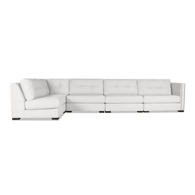 Timpson Buttoned Left L-Shape Modular Sectional Upholstery: White