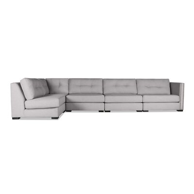 Timpson Buttoned Left L-Shape Modular Sectional Upholstery: Gray