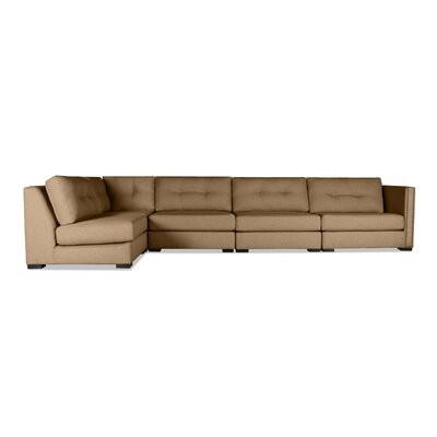 Timpson Buttoned Left L-Shape Modular Sectional Upholstery: Brown