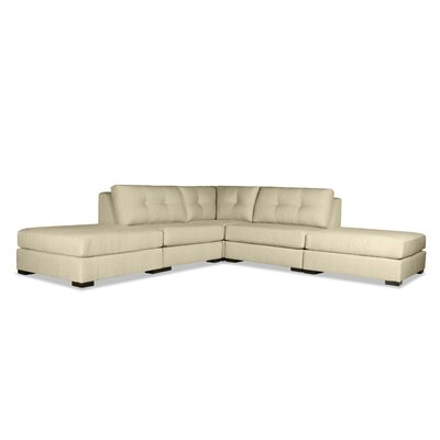 Glaude Buttoned L-Shape Modular Sectional with Double Ottoman Upholstery: Sand