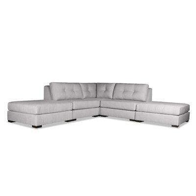 Glaude Buttoned L-Shape Modular Sectional with Double Ottoman Upholstery: Gray