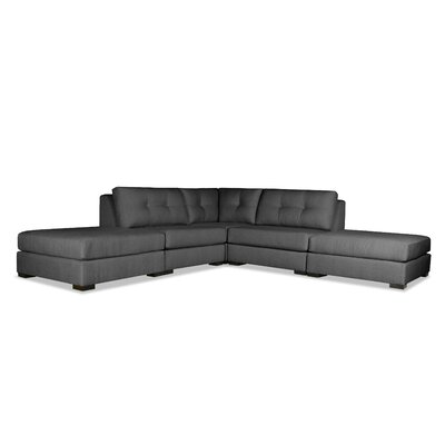 Glaude Buttoned L-Shape Modular Sectional with Double Ottoman Upholstery: Charcoal