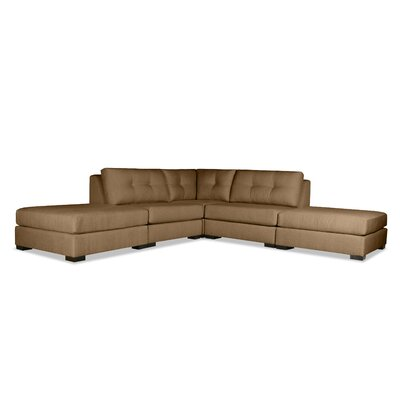 Glaude Buttoned L-Shape Modular Sectional with Double Ottoman Upholstery: Brown