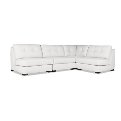 Glaude Buttoned L-Shape Short Modular Sectional Upholstery: White
