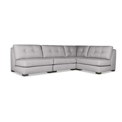 Glaude Buttoned L-Shape Short Modular Sectional Upholstery: Gray
