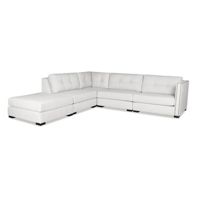 Timpson Buttoned Modular Sectional with Ottoman Upholstery: White, Orientation: Left Hand Facing