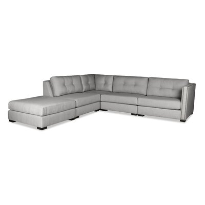 Timpson Buttoned Modular Sectional with Ottoman Upholstery: Gray, Orientation: Left Hand Facing