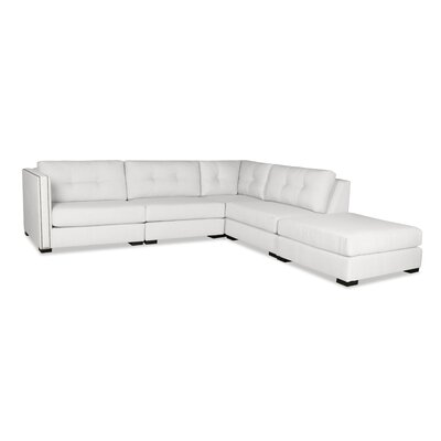 Timpson Buttoned Modular Sectional with Ottoman Upholstery: White, Orientation: Right Hand Facing