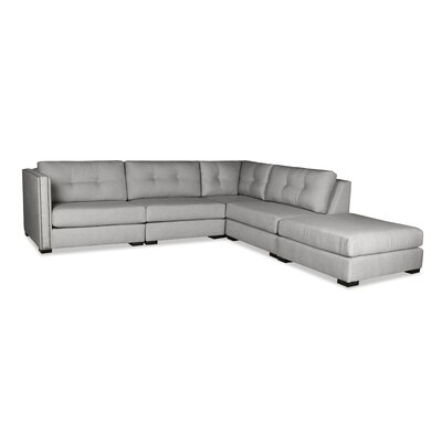 Timpson Buttoned Modular Sectional with Ottoman Upholstery: Gray, Orientation: Right Hand Facing