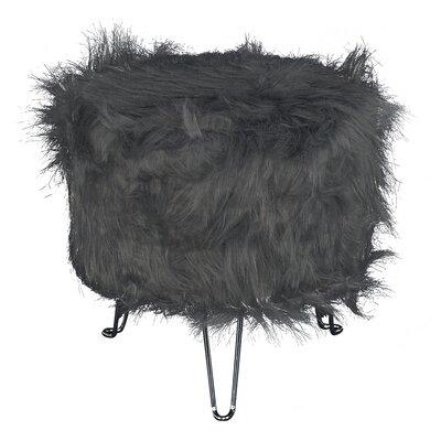 Byrne Faux Fur Stool Hair Pin Leg Ottoman Upholstery: Gray