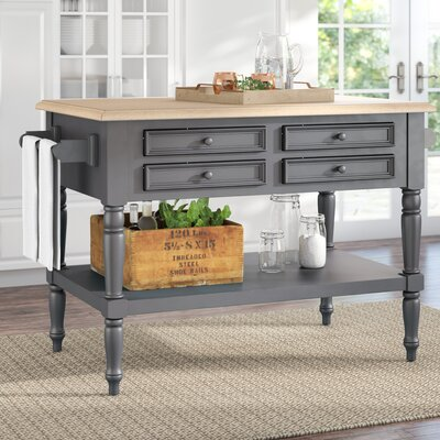 Kempwood Small Kitchen Island Top Finish: Rustic Mango Gray Wash