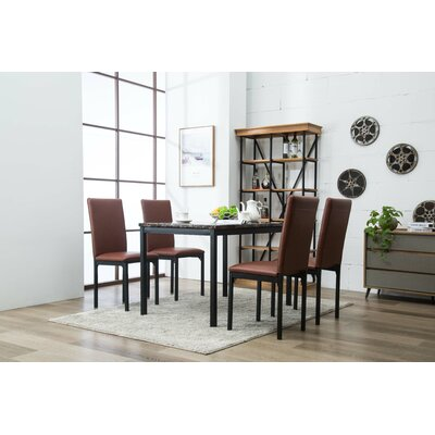 Andreana Dining Set Color: Brown