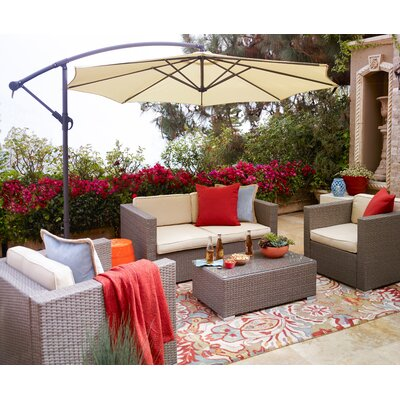 5 Piece Outdoor Conversation Set Frame Color: Light Brown