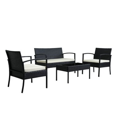 4 Piece Patio Sofa Set With Cushions Cushion Color: Beige, Frame Color: Black